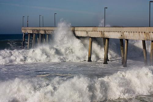 Surging ocean waves